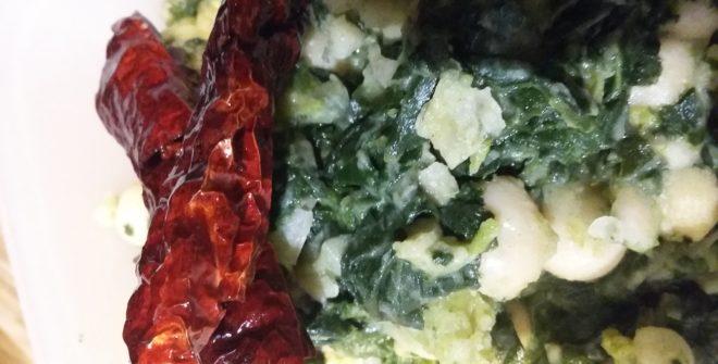 Cavolo nero, fagioli tondini del tavo e peperoni secchi fritti